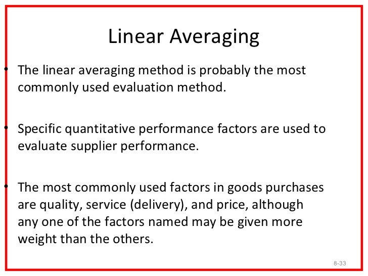 Linear Averaging Method1. The first step is to assign appropriate weights to each   performance factor, such that the tota...