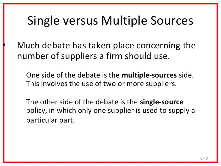 Advantages of Multiple Sourcing• The main arguments for multiple sourcing are competition  and assured supply.   – It is c...