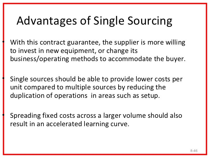 Cross-Sourcing• Cross-sourcing works this way. If supplier A can produce  parts 1, 2, 3, 4, and 5 and so can supplier B, t...