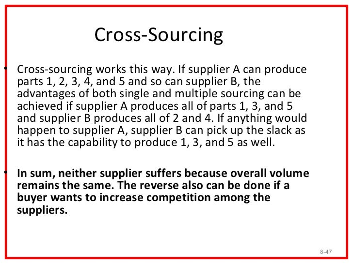 Supplier Reduction• Regardless of one's final analysis of the single/multiple  debate, it is recommended to reduce the sup...