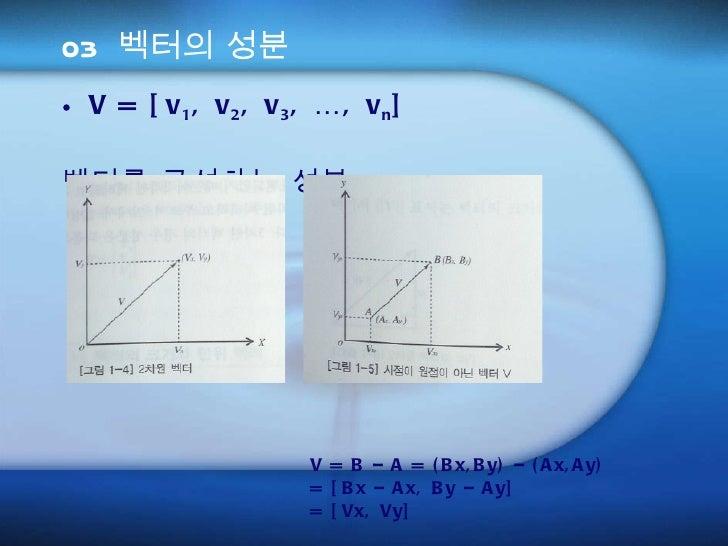 03 벡터의 성분 <ul><li>V = [v 1 , v 2 , v 3 , …, v n ] </li></ul><ul><li>벡터를 구성하는 성분  v 1 , v 2 , v n </li></ul><ul><li>  V = B...