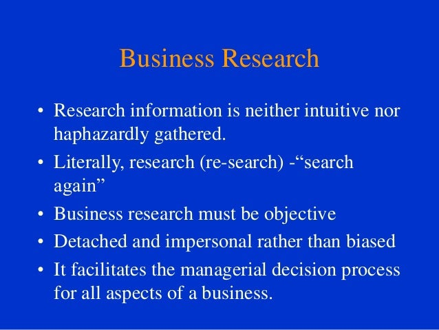 role of business research