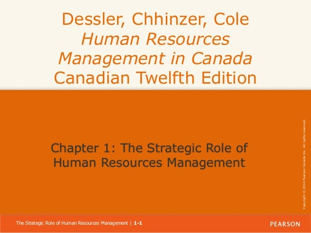 Chapter 1: The Strategic Role of Human Resources Management  The Strategic Role of Human Resources Management | 1-1  Copyr...