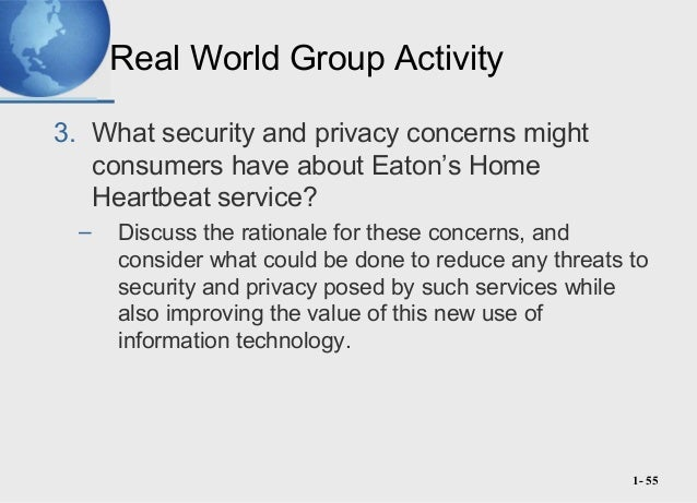 what security and privacy concern might consumers have concerning eaton s home heartbeat service 1- 2 what is a system a system is a set of interrelated components with a   but we will focus on computer-based information systems (cbis)  marketing  and servicing of products and services over computer networks  what security  and privacy concerns might consumers have about eaton's home heartbeat  service.