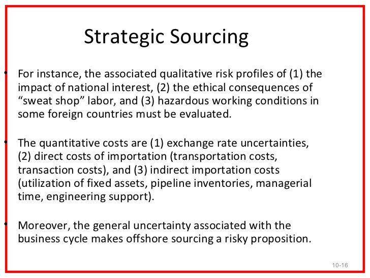 strategic benefits and risks of global sourcing The pros and cons of local and global sourcing  from supplier to customer– plays an integral role in a production strategy sourcing–choices, choices  and  the invited suppliers benefit greatly from shared experiences and close  coordination  why subject your company to the risks and challenges of global  sourcing.