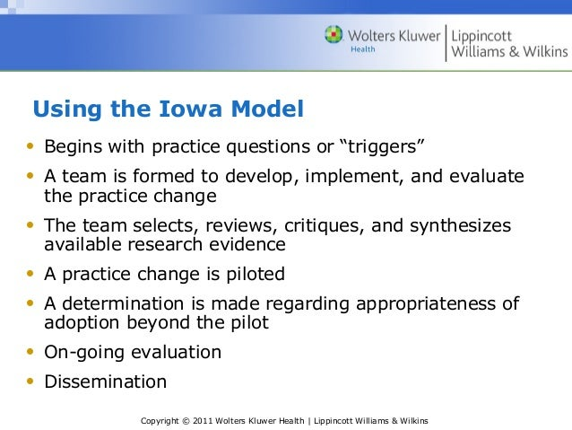 rosswurm and larrabee model for change Step 4 design practice change after careful review of the best evidence from  use step six of rosswurm and larrabee's six-step model for change to discuss how.