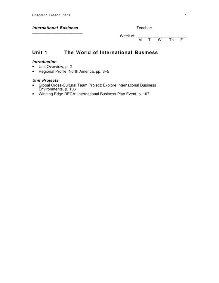 Chapter 1 Lesson Plans                                                         1   International Business                 ...
