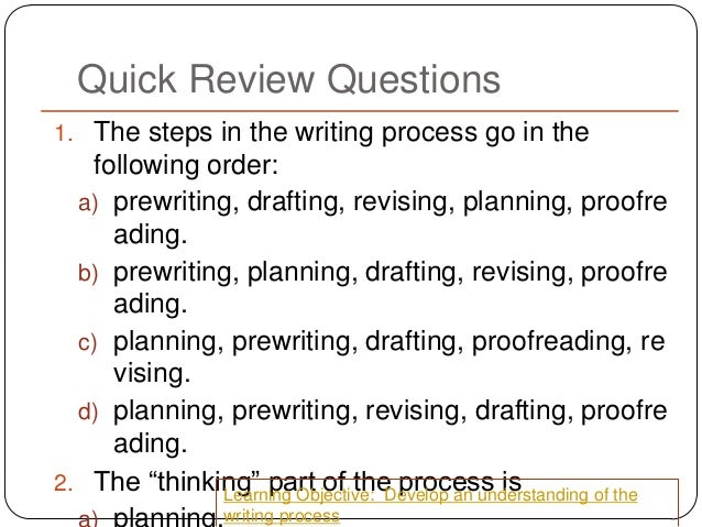 which of the following is part of the writing process when writing an essay Self-review for creative writing plays the same part of the writing process as in other types of writing 2 the essay form of kim dana kupperman's i just lately started buying wings can be described as a: (points : 3.
