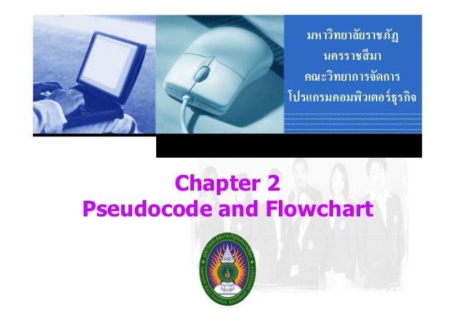 มหาวิทยาลัยราชภัฏ นครราชสี มา คณะวิทยาการจัดการ โปรแกรมคอมพิวเตอร์ ธุรกิจ  Chapter 2 Pseudocode and Flowchart Company  LOG...