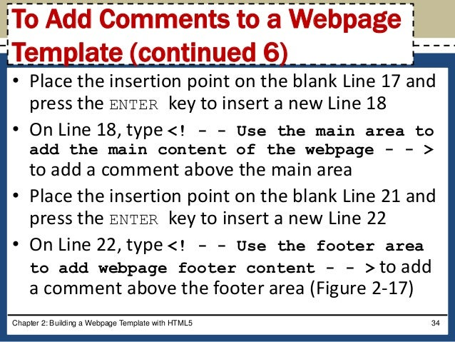 Html and css chapter 02 comments to a webpage template continued 5 34 maxwellsz