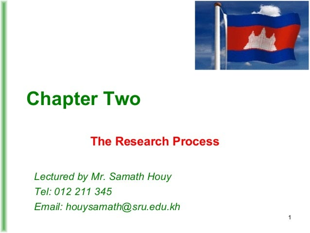 Chapter Two The Research Process Lectured by Mr. Samath Houy Tel: 012 211 345 Email: houysamath@sru.edu.kh 1