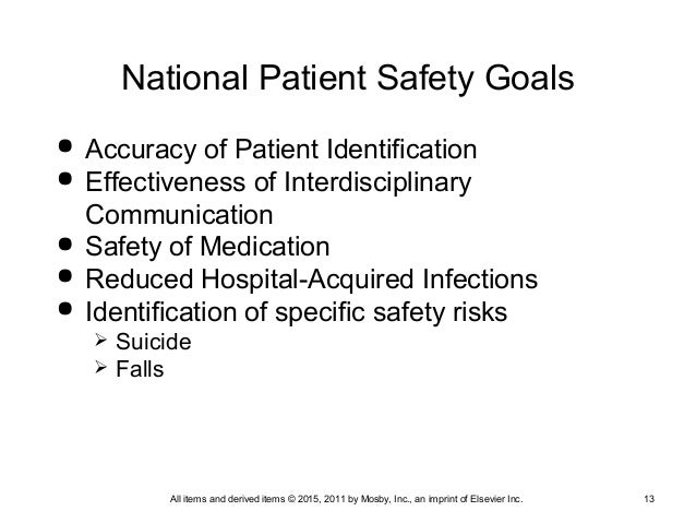 2011 national patient safety goals National patient safety goals 2011 the joint commission has identified five patient safety goals & 1 universal protocol to improve patient safety: improve the.