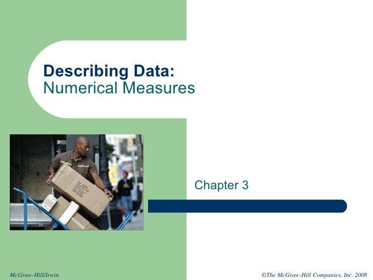 Describing Data: Numerical Measures Chapter 3