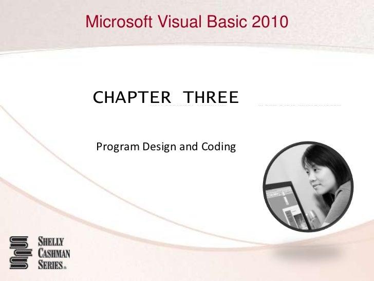 Microsoft Visual Basic 2010CHAPTER THREE Program Design and Coding