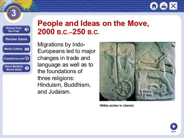 NEXT Hittite archer in chariot. People and Ideas on the Move, 2000 B.C.–250 B.C. Migrations by Indo- Europeans led to majo...