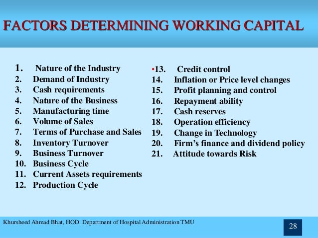 Factors Determining Working Capital