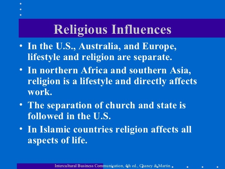 The influence of religion in the