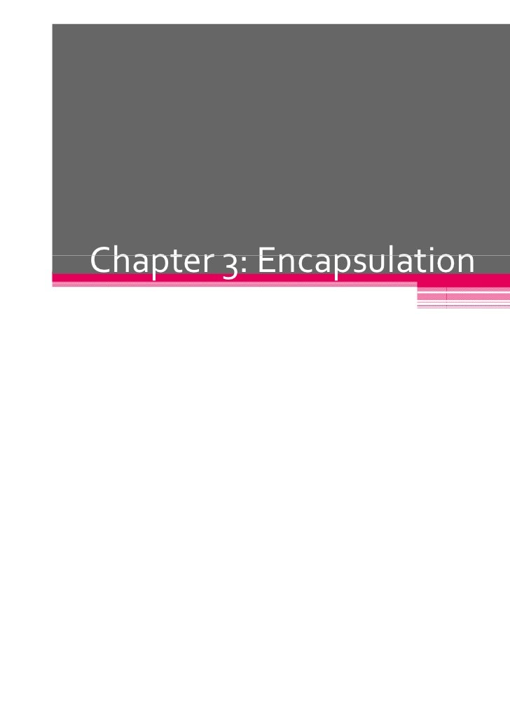 Chapter 3: Encapsulation