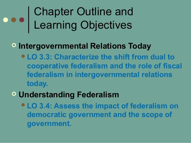 Chapter Outline and Learning Objectives  Intergovernmental Relations Today LO 3.3: Characterize the shift from dual to c...