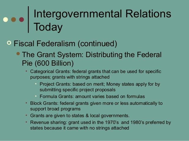 Intergovernmental Relations Today  Fiscal Federalism (continued) The Grant System: Distributing the Federal Pie (600 Bil...