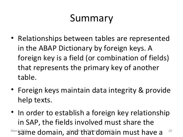 primary key and foreign relationship in sap abap