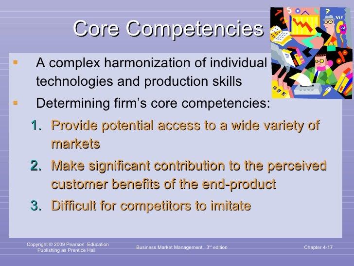 Core Competencies <ul><li>A complex harmonization of individual technologies and production skills </li></ul><ul><li>Deter...