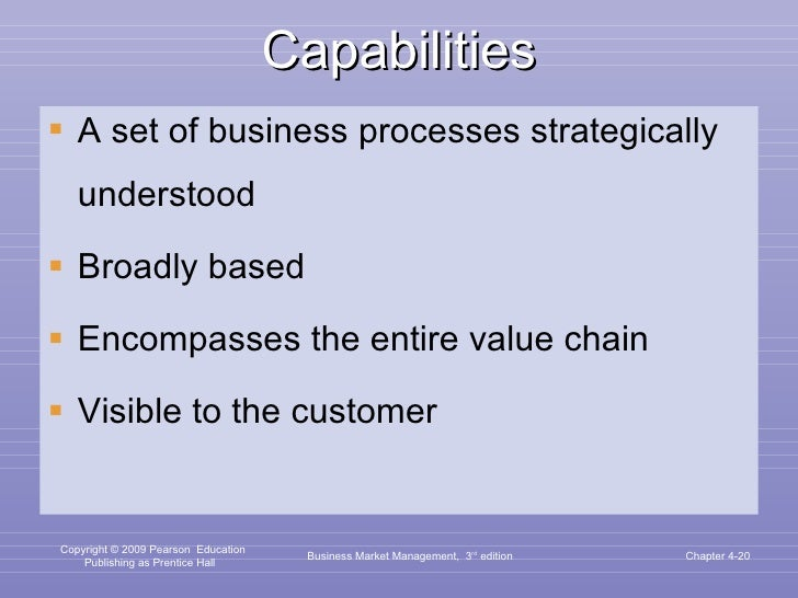 Capabilities <ul><li>A set of business processes strategically understood </li></ul><ul><li>Broadly based </li></ul><ul><l...
