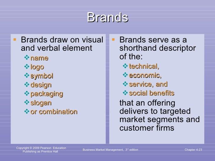 Brands <ul><li>Brands draw on visual and verbal element </li></ul><ul><ul><li>name </li></ul></ul><ul><ul><li>logo </li></...