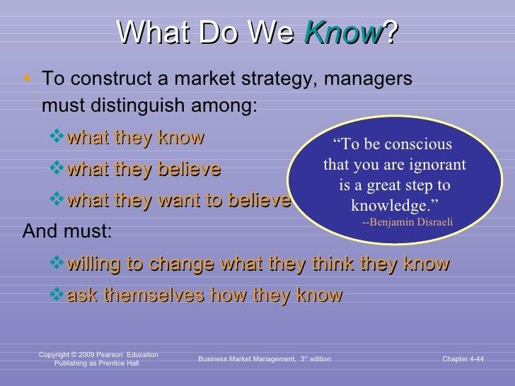 What Do We  Know ? <ul><li>To construct a market strategy, managers must distinguish among: </li></ul><ul><ul><li>what the...