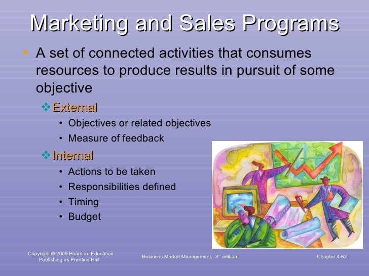 Marketing and Sales Programs <ul><li>A set of connected activities that consumes resources to produce results in pursuit o...