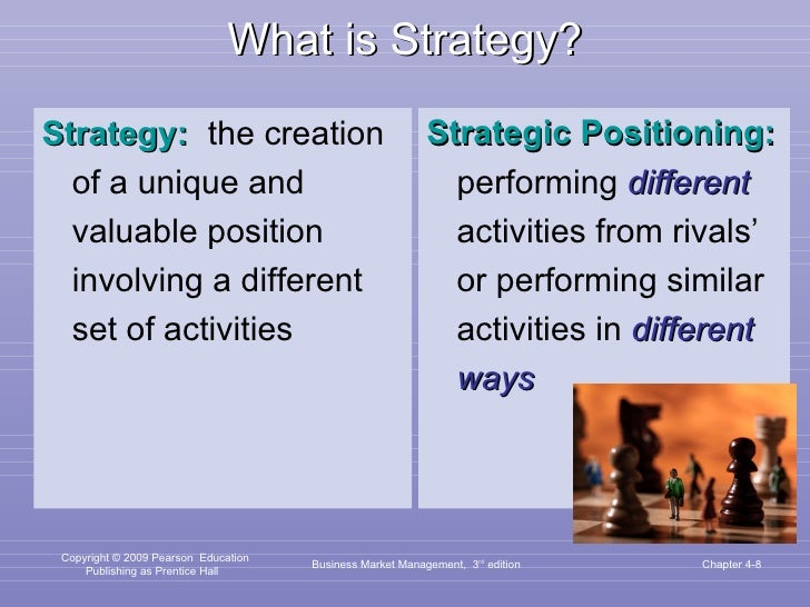 What is Strategy? <ul><li>Strategy:   the creation of a unique and valuable position involving a different set of activiti...