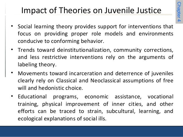 "social learning theories and juveniles Learning theories in juvenile rehab 5 ""constructivist conceptions of learning, on the other hand, assume that knowledge is individually constructed and socially constructed by learners based on their interpretations of experiences in the world"" (1999) the paint youth facility applies this theory by making the youth experience and learn by their own actions."