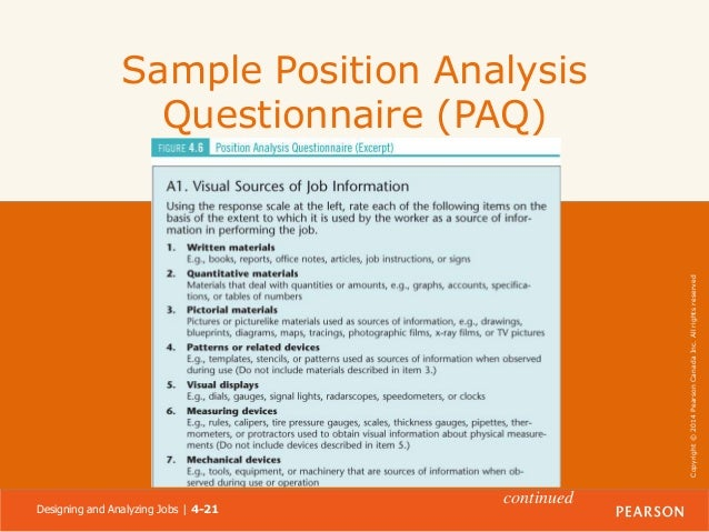 21 reserved copyright 2014 pearson canada inc all rights reserved sample position analysis questionnaire