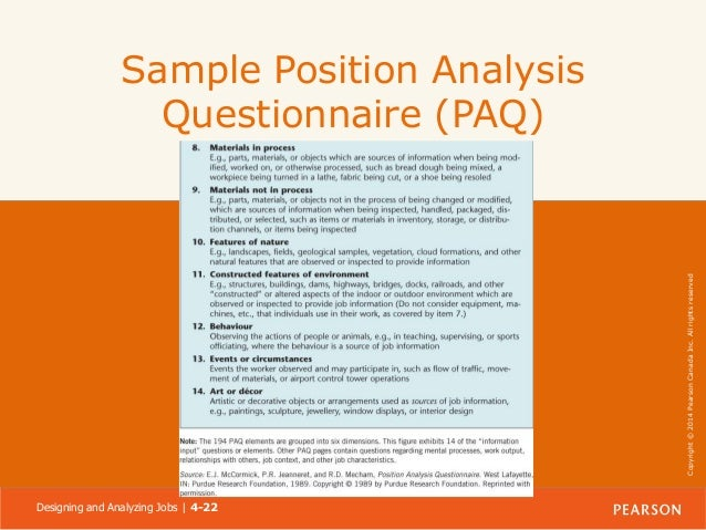 Sample Position Analysis Questionnaire PAQ Designing And Analyzing Jobs