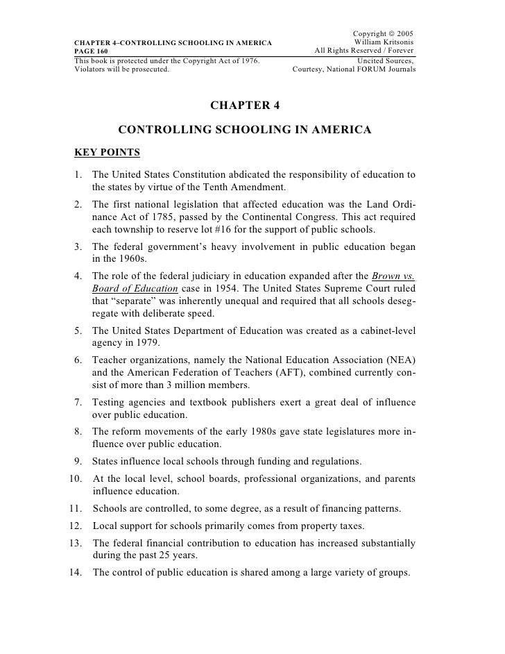 Copyright © 2005 CHAPTER 4–CONTROLLING SCHOOLING IN AMERICA                                  William Kritsonis PAGE 160   ...