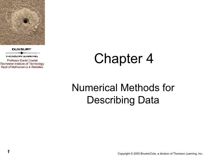 Chapter 4 Numerical Methods for Describing Data