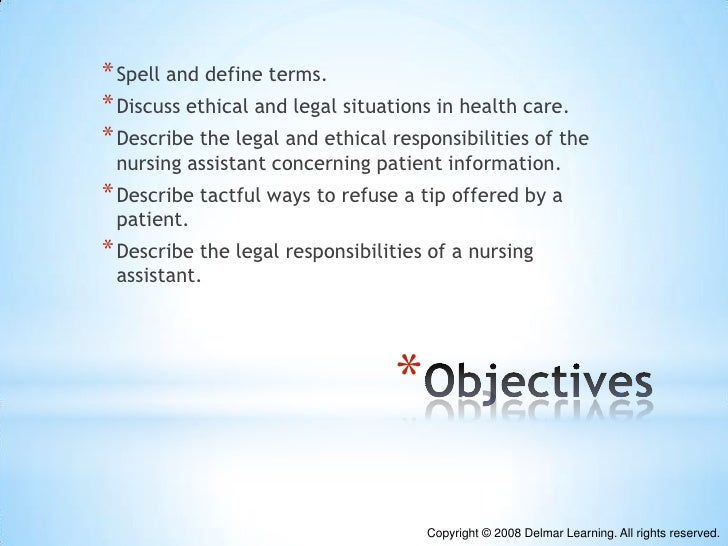 Chapter 04 ethical and legal issues affecting nursing assistant