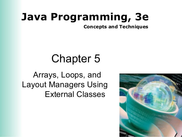 Java Programming, 3e Concepts and Techniques Chapter 5 Arrays, Loops, and Layout Managers Using External Classes