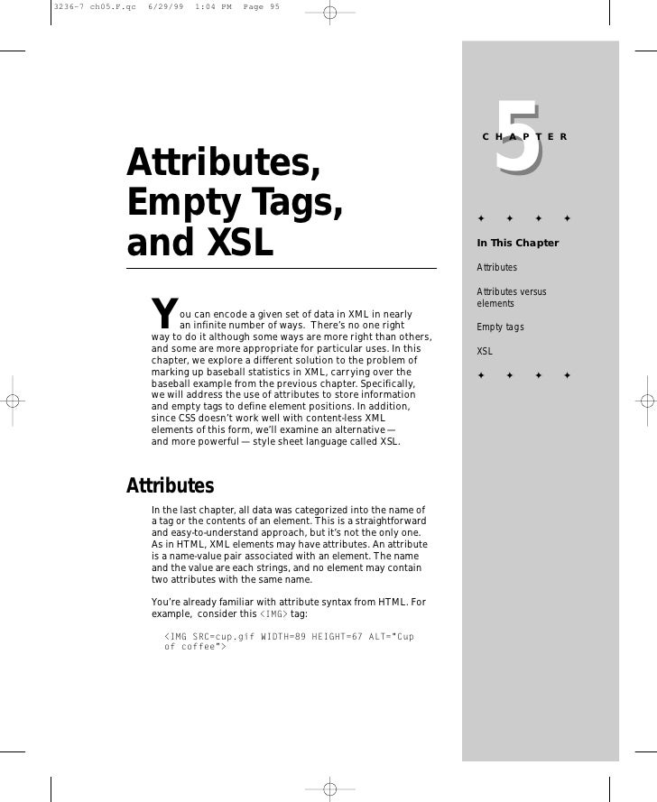 5                                                                     CHAPTER   Attributes, Empty Tags,                   ...