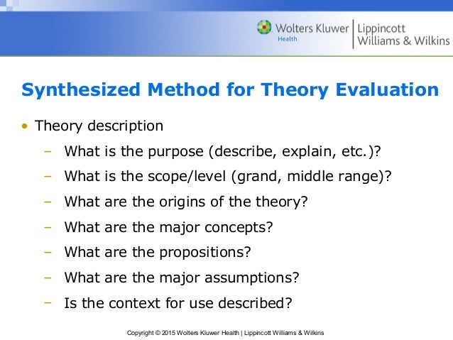 synthesized method of nursing theory evaluation 1 analysis of theory analysis of theory instructions: using the same nursing theory as module 3 complete an evaluation of the theory you select as it applies to contemporary nursing  the evaluation outline is adapted from the synthesized method for theory evaluation, mcewen & wills (2014), p108.