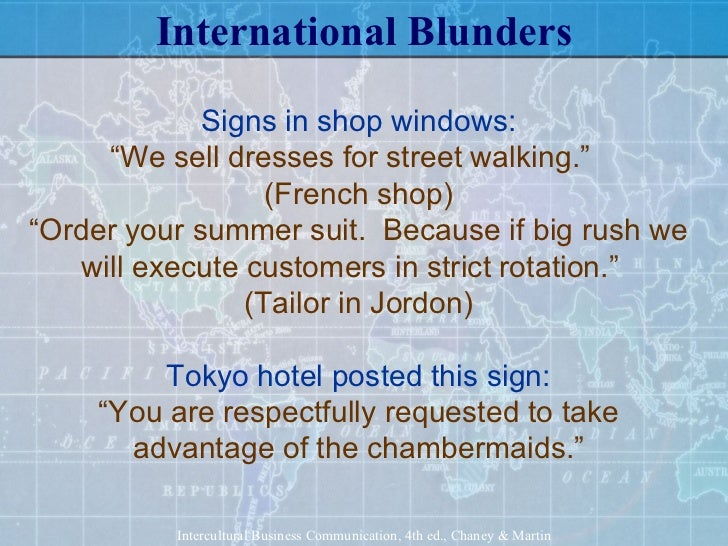 intercultural miscommunication example How culture controls communication  image via wikipedia business leaders know that intercultural savvy is vitally important  for example, it has.