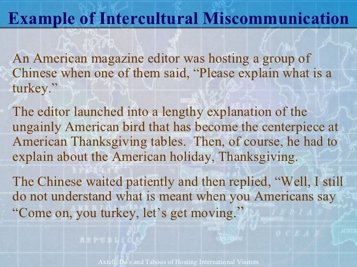 memo on intercultural miscommunication What is intercultural communication, and why does it matter internations provides you with a basic introduction to intercultural communication for expatriates.