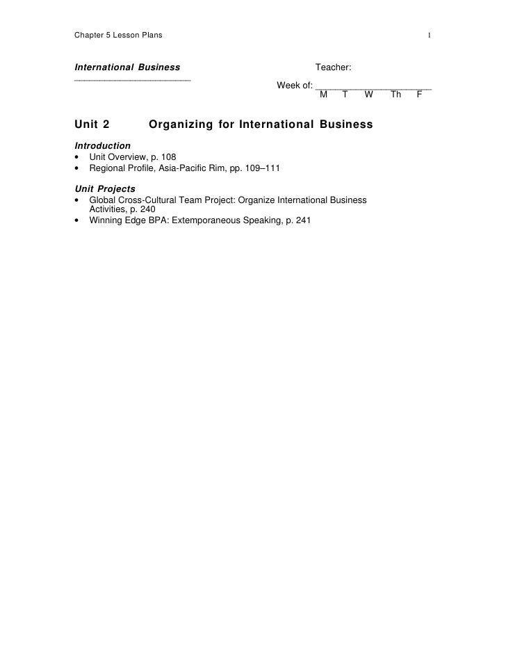Chapter 5 Lesson Plans                                                         1    International Business                ...