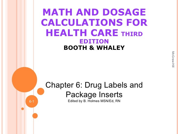 MATH AND DOSAGE CALCULATIONS FOR HEALTH CARE   THIRD EDITION BOOTH & WHALEY McGraw-Hill 6- Chapter 6: Drug Labels and Pack...