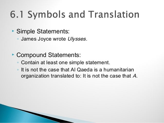 simple statements james joyce wrote ulysses compound statements contain