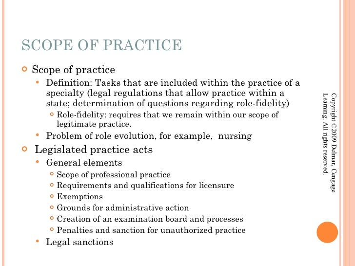 the role and scope of professional The scope of professional practice: a literature review to determine the document's impact on nurses' role.
