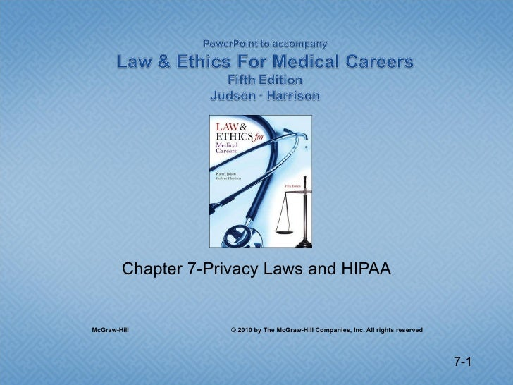 Chapter 7-Privacy Laws and HIPAA McGraw-Hill  © 2010 by The McGraw-Hill Companies, Inc. All rights reserved