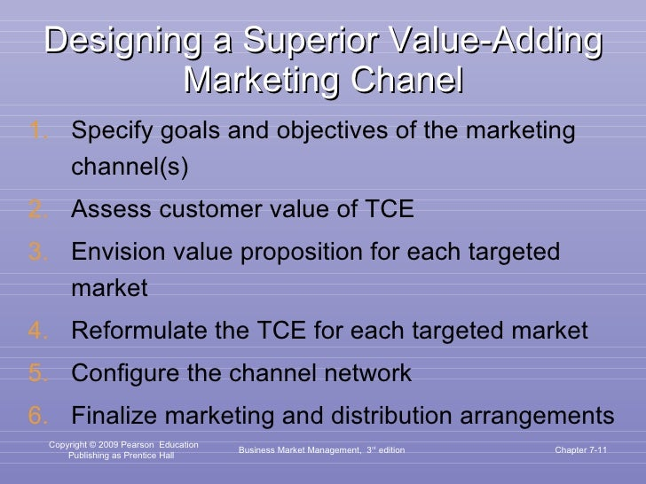 Designing a Superior Value-Adding Marketing Chanel <ul><li>Specify goals and objectives of the marketing channel(s) </li><...