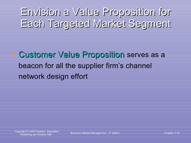 Envision a Value Proposition for Each Targeted Market Segment <ul><li>Customer Value Proposition   serves as a beacon for ...