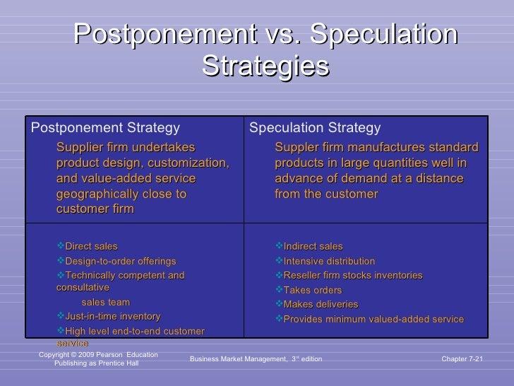 Postponement vs. Speculation Strategies Business Market Management,  3 rd  edition Chapter 7- <ul><li>Postponement Strateg...